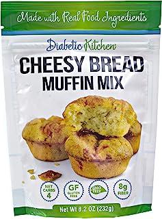 Diabetic Kitchen Cheesy Bread Keto Muffin Mix – Low Carb Bread Biscuits – 4 Net Carbs Gluten-Free 8g Fiber Non-GMO