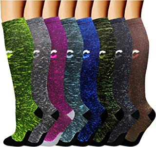 ACTINPUT Compression Socks (8 Pairs) for Women & Men 15-20mmHg - Best Medical, Nursing, Hiking, Recovery & Flight Socks