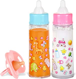 Exquisite Buggy My Sweet Baby Disappearing Magic Bottles - Includes 1 Milk, 1 Juice Bottle with Pacifier for Baby Doll (Colorful)
