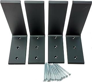"""Heavy Duty Black Steel 6"""" x 8"""" Countertop Support Brackets (4 Pack Black)"""