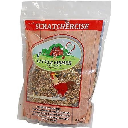 LITTLE FARMER PRODUCTS SCRATCHERCISE Premium Chicken Poultry Free-Range Scratch Treat Mix | Wheat, Milo, Peas, Sunflower, Safflower, Flax, Mealworms (3 lbs)