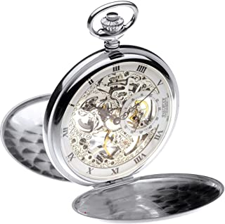Full Hunter Pocket Watch Sterling Silver Skeleton 17 Jewel Mechanical Movement