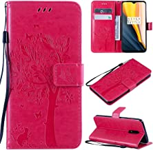 HUIZHIHUA Case compatible for Oneplus Case 360 degree protection Cover leather Card slot Flip wallet cover Shockproof Anti-Slip bumper-Rose red