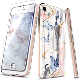 NageBee Case for iPhone SE, iPhoen 5S / iPhone 5, Ultra Slim Thin Glossy Stylish Marble Designed Protective Bumper Cover Phone Case with Tempered Glass Screen Protector for iPhone 5/5S/SE -Rose Gold