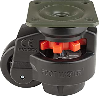 """FOOTMASTER GD-100F-BLK Nylon Wheel and NBR Pad Leveling Caster, 1650 lbs, Top Plate 3 3/4"""" x 3 3/4"""", Bolt Holes 2 3/4"""" x 2 3/4"""", Black Finish"""