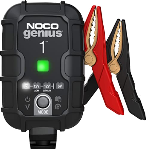 NOCO GENIUS1, 1-Amp Fully-Automatic Smart Charger, 6V and 12V Battery Charger, Battery Maintainer, Trickle Charger, a...