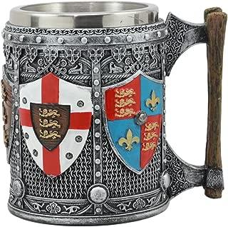 Ebros Large Medieval Coat Of Arms English Heraldry Tankard Mug 16oz Kingdom Of England Lion Heart Crest Beer Stein Tankard Coffee Cup