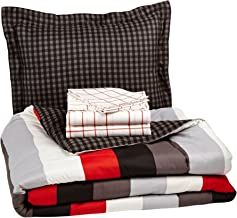 AmazonBasics 5-Piece Bed-In-A-Bag Comforter Bedding Set - Twin or Twin XL, Red Simple Stripe, Microfiber, Ultra-Soft
