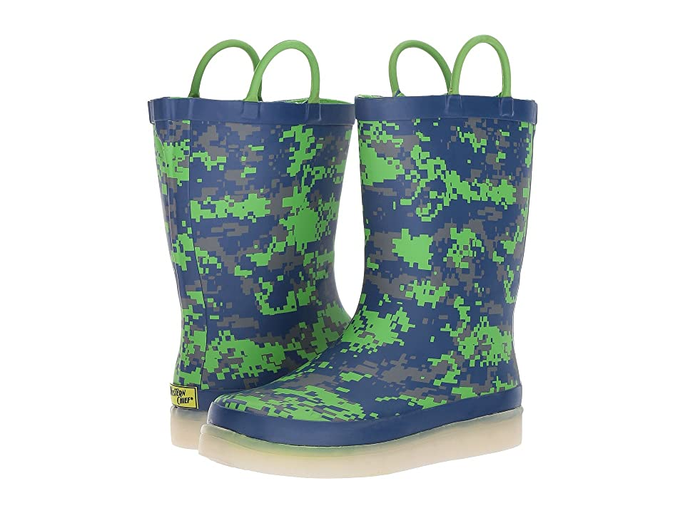 Western Chief Kids LED Lighted Rain Boots (Toddler/Little Kid/Big Kid) (Digital Camo Navy) Boys Shoes