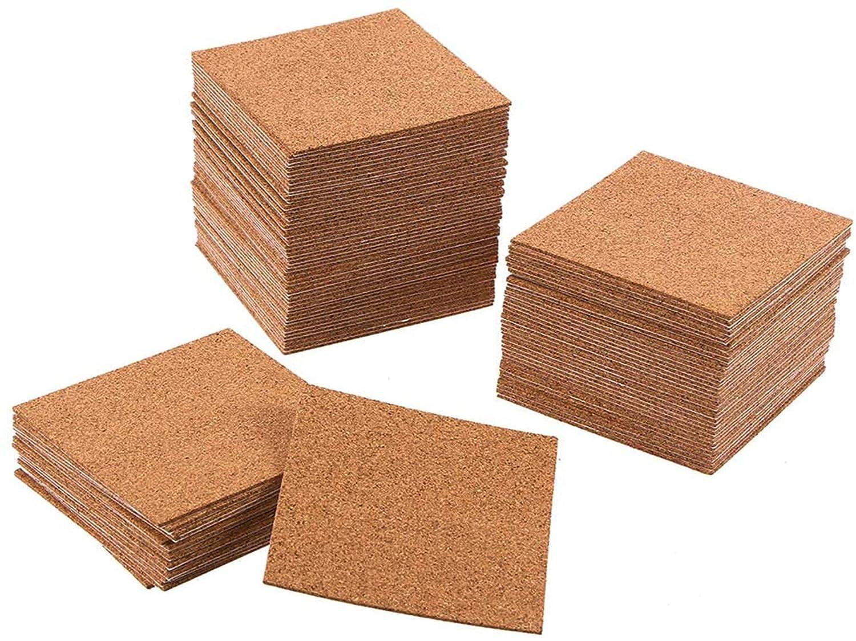 Hulless 4 x 4 Inch Self Adhesive Cork Squares 100 MM Cork Backing Sheets Mini Wall Cork Tiles for DIY Crafts, 40 Pcs
