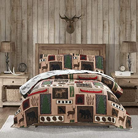 Oliven Reversible Home Rustic Bedding Lodge Moose Bear Quilt Set King Size,3 Pcs Lightweight Cabin Bedspread Bear Paw Eagle Elk Printed Bed Cover All Season Coverlet Bed Set with King Pillow Shams