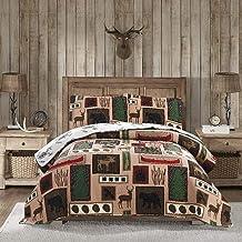 Reversible Home Rustic Bedding Lodge Moose Bear Quilt Set Twin Size,3 Pcs Lightweight Cabin Bedspread Bear Paw Eagle Elk P...