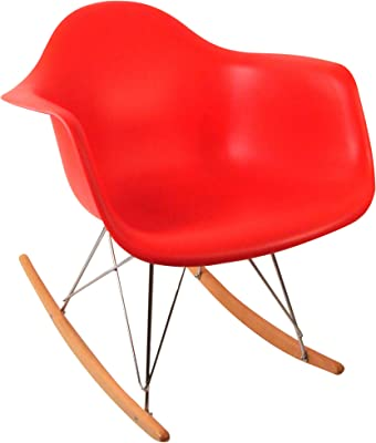 Control Brand DC-311W Red Adult Sized Mid Century Rocking Chair with Arms and Ash