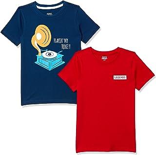 Amazon Brand - Jam & Honey Boy's Regular T-Shirt (AW20BTS-HS-PO2_Multicolor 4 2-3 Years)