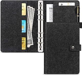 Toplive A5 Reliure à anneaux, 6 anneaux [Fentes pour cartes] [Note Pocket] Planner Couverture de reliure pour reliure à an...