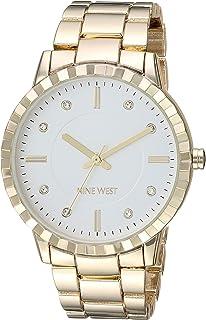Nine West - Reloj de pulsera para mujer con detalles de vidrio