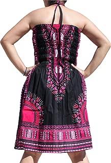 Smock Bust Open Shoulder Dashiki Colour Halter Strap Dress or Skirt