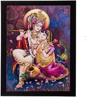 eCraftIndia Radha Krishna Matt Textured Framed Synthetic Wood Up Art Painting (28 cm X 1.3 cm X 35.6 cm) & Cute Love Birds Decorative Metal Figurine (15 cm X 5 cm X 33, Silver and Golden) Combo