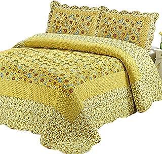 Abreeze 100% Cotton Polka Dot Sunflower Patchwork Bedspreads Quilt Sets Queen
