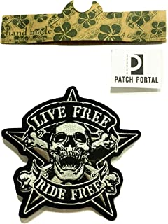 Patch Portal Live Free Ride Free Patch 4 Inches Biker Rocker Motorcycle Star Crossbones Skull Embroidered Iron on Trendy E...