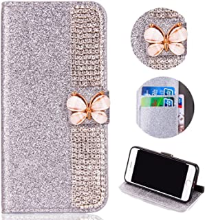 Glitter Leather Wallet Case for Samsung Galaxy J7 2018,Shinyzone Luxury Diamond Sparkle 3D Butterfly Magnetic Buckle Women Series Design Cover for Samsung Galaxy J7 2018,Silver