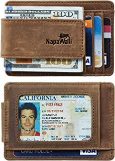 NapaWalli Genuine Leather Magnetic Front Pocket Money Clip Wallet RFID Blocking