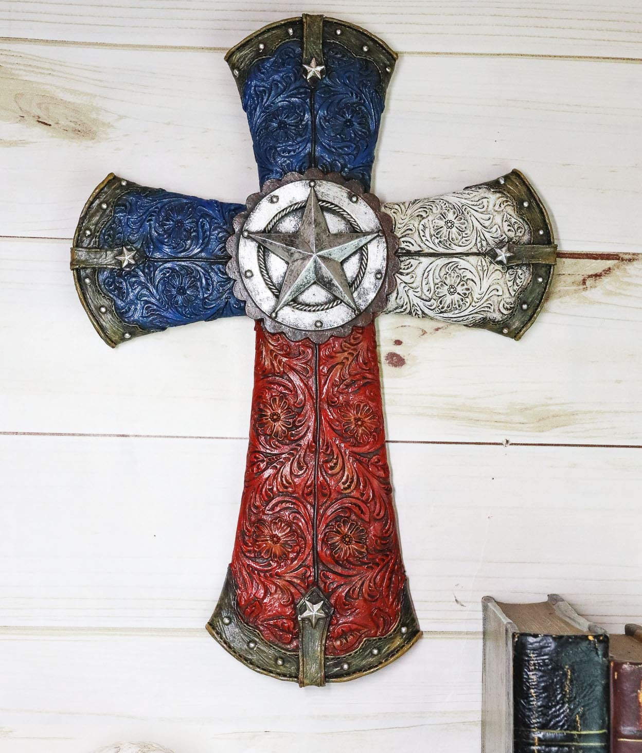 Ebros Rustic Western Lone Star With Tooled Floral Lace Patterns And Texas State Flag Colors Wall Cross Decor Plaque 13.5