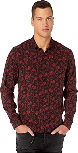 Classic Collar Button Down Shirt in A Red Flower Print
