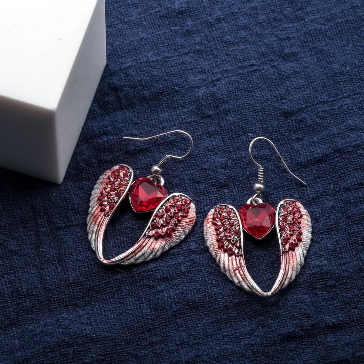 2 1//4 inch Szxc Womens Crystal Guardian Angel Wings Hypoallergenic Dangle Earrings Biker Jewelry