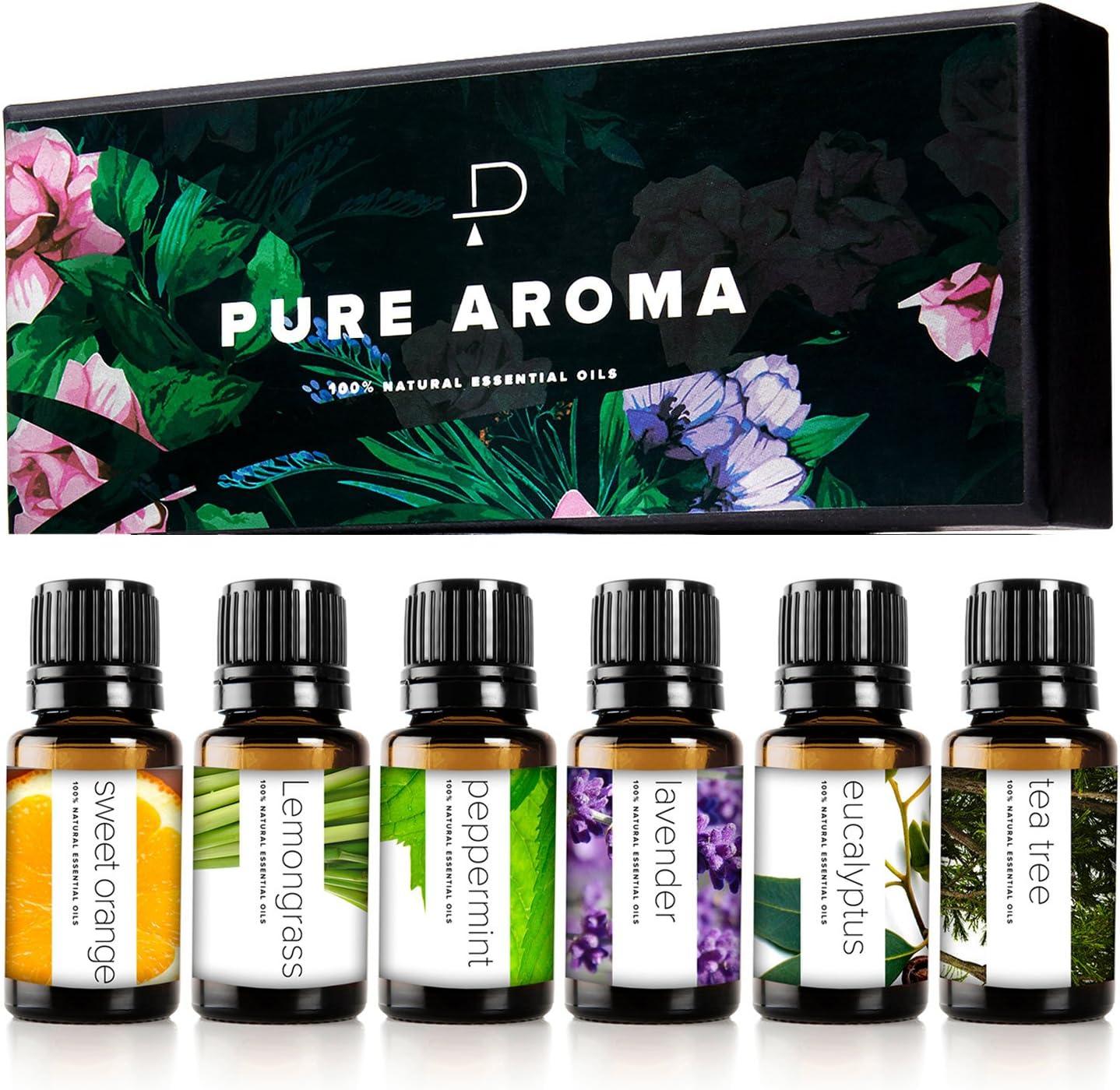 Pure Aroma Aceites esenciales, kit de aceites 100% puros de grado terapéutico - Top 6 Set de regalo de aceites de aromaterapia - Paquete de 6, 10 ml (eucalipto, lavanda, hierba de limón, naranja)