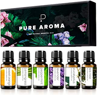 Essential Oils by PURE AROMA 100% Pure Therapeutic Grade Oils kit- Top 6 Aromatherapy Oils Gift Set-6 Pack, 10ML(Eucalyptu...