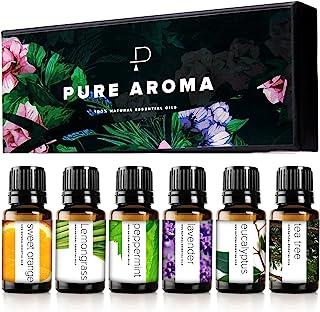 مجموعة الزيوت العطرية من بيور اروما 100% من الزيوت العلاجية النقية - مجموعة هدايا من 6 زيوت علاجية عطرية - عبوة من 6 قطع، ...