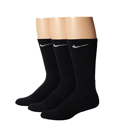 Nike Cotton Cushion Crew with Moisture Management 3-Pair Pack Black/White Men's Running Socks 8068305