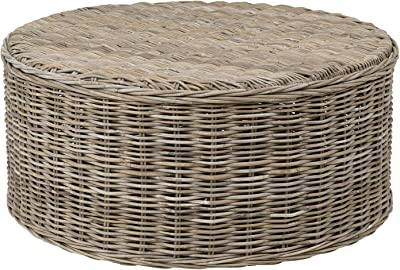 East at Main Helen Grey Rattan Round Coffee Table, (39x39x18)