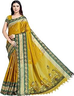 SP AURA Women's Premium Embroidered Cotton Saree with Blouse Piece