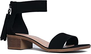 J. Adams Ankle Strap Kitten Heel – Strappy Block Heel - Cute Low Sandal - Faux Leather Vegan - Midori