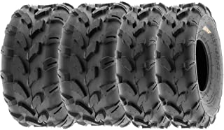 SunF All Terrain Knobby Replacement ATV UTV 6 Ply Tires 19x7-8 & 19x9.5-8 Tubeless A003, [Set of 4]