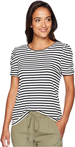 Short Sleeve Chateau Stripe Puff Shoulder Top