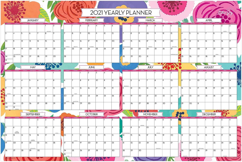 Blue Sky 2020-2021 Academic Year//2021 Regular Year Monthly Laminated Erasable Wall Calendar Double Sided Mahalo 36 x 24