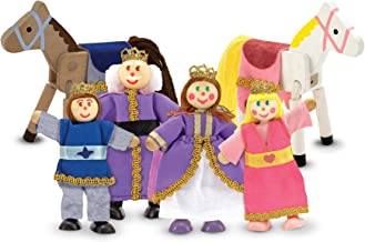 Melissa & Doug Royal Family Wooden Poseable Doll Set for Castle and Dollhouse (6 pcs) - 4 Dolls, 2 Horses (3-4 inches each)
