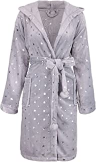 BURKLETT Womens Robe Luxurious Hooded Flannel Fleece Short Bath Robe with Side Pockets