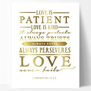 Ocean Drop Designs Love is Patient Gold Unique Wedding Gift, Gold Foil Print - Beautiful Engagement Gift, or Wedding Present with Meaningful Wedding Blessing Quote, Made in The USA