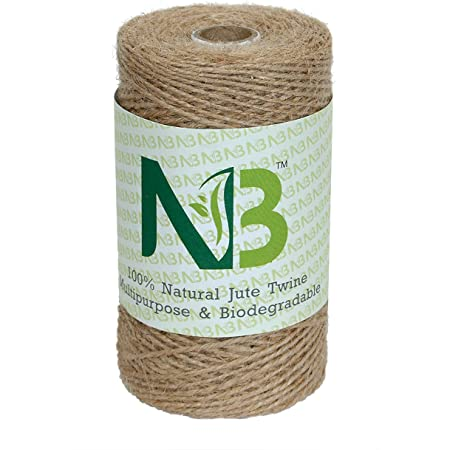 Modenna NSB01 2-Ply Strong Natural Jute Twine String Rope Roll, 820 ft/250 m
