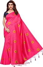Anni Designer Women's Pink Color Satin Silk Printed Saree With Blouse Piece(PRINTED ROSHNI PINK_Free Size)