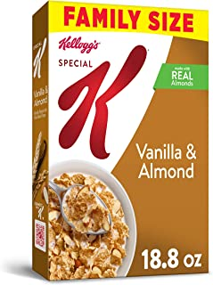 Kellogg`s Special K, Breakfast Cereal, Vanilla and Almond, Made with Real Almonds, Family Size, 18.8oz Box