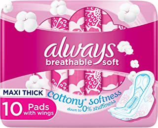 Always Breathable Soft Maxi Thick, Large sanitary pads with wings, 10 pads