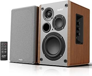 Moukey ブックシェルフスピーカー スタジオモニタースピーカー 3ウェイ 豊かな低音 温かみの中音 クリアな高音 Bluetooth5.0 ステレオアクティブニアフィールド モニター 木製 エンクロージャー RMS 50W MA20-1