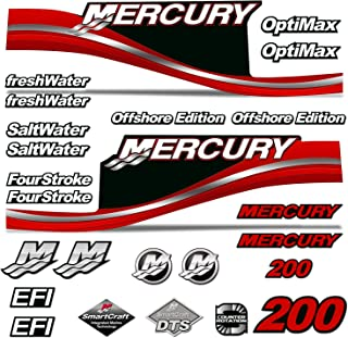 AMR Racing Outboard Engine Motor Sticker Decal Graphics kit for Mercury 200 - Red