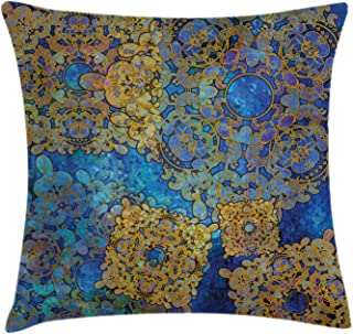 Ambesonne Ethnic Throw Pillow Cushion Cover, Traditional Persian Motif Oriental Moroccan Effects Exotic Style Boho Design, Decorative Square Accent Pillow Case, 20