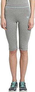 Ultrasport Women's Fitness/Sport Clutch Capri Pants, Grey - Grau-Melange/Aqua, Medium